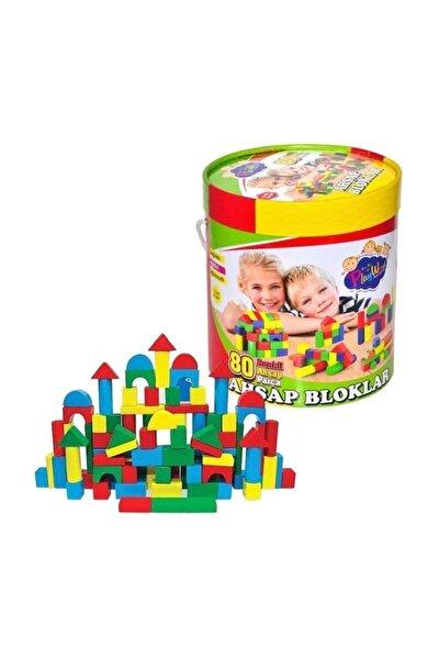 Ahşap Bloklar 80 Parça Renkli