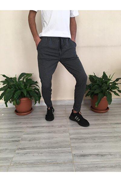Erkek Siyah Çizgili Jogger Tarzı Eşofman Pantolon