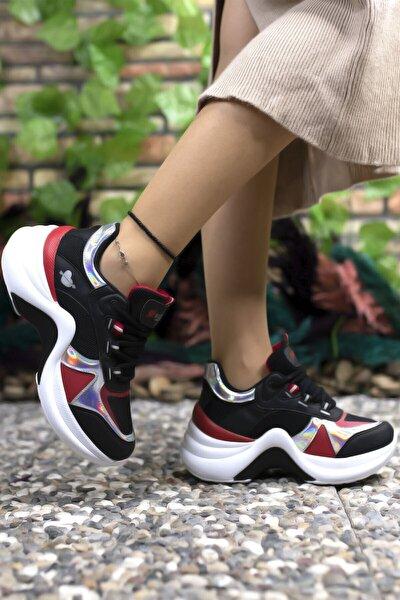 Siyah Kırmızı Kadın Sneaker