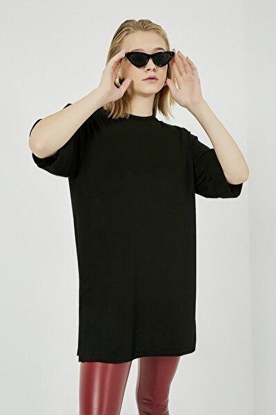 Kadın Siyah Giyim Boyfrıend Duble Kol Basıc Tshırt