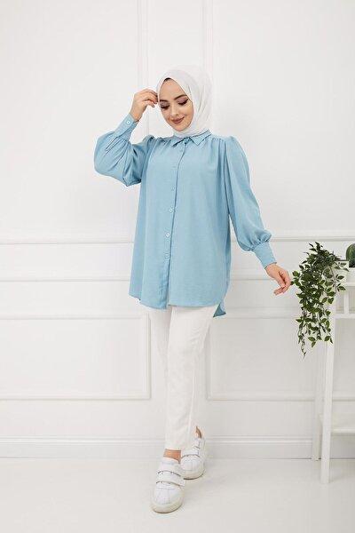 Kadın Mavi Kol Manşetli Ayrobin Gömlek