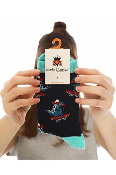 Kadın Siyah Kaykaylı Dinazor Desenli Soket Çorap