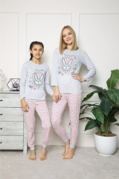 Wom Prive Pembe Tavşan Baskılı Gri Anne Kız Kombin Pijama Takımı