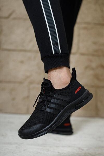 Erkek Siyah Yeni Sezon Triko Ortopedik  Spor Ayakkabı