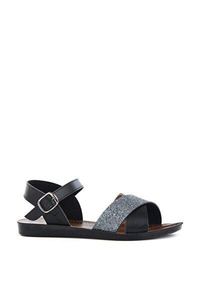 Kadın Günlük Simli Siyah Sandalet