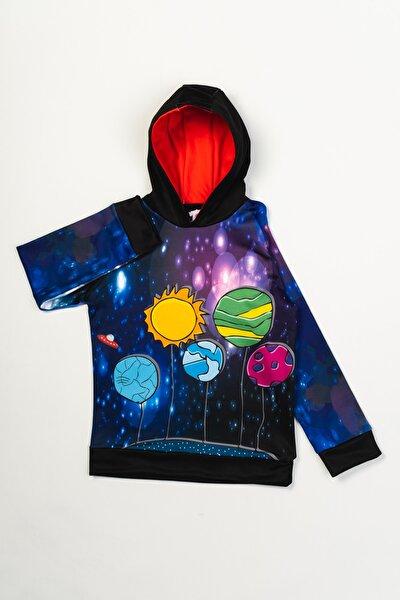 Erkek Çocuk Lisanslı Uzay Baskılı Kapüşonlu Sweatshirt