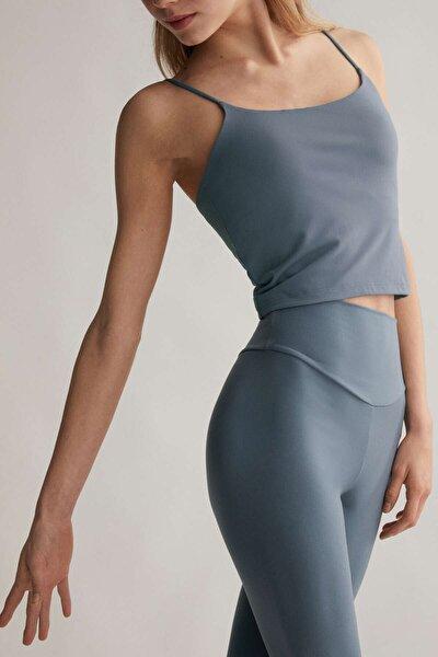 Kadın Mavi Askılı Streç T-Shirt