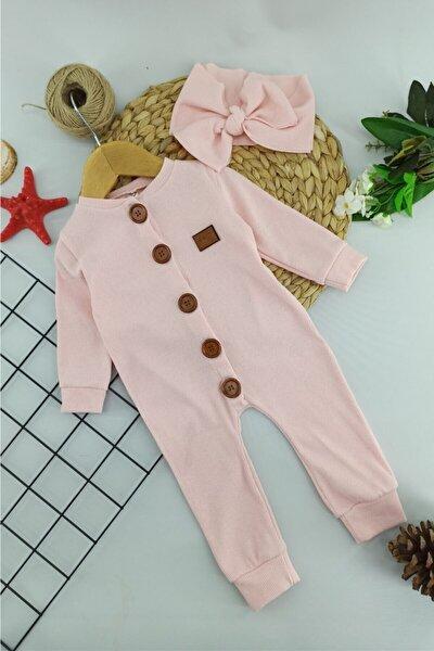 Somon Bandanalı Düğmeli Kız Bebek Tulum 6-9-12-18- Ay
