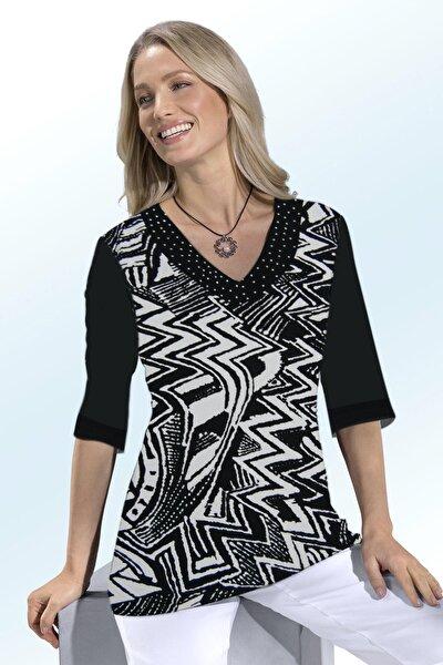 Kadın Siyah Beyaz V Yaka Taşlı Truvakar Kol Bluz
