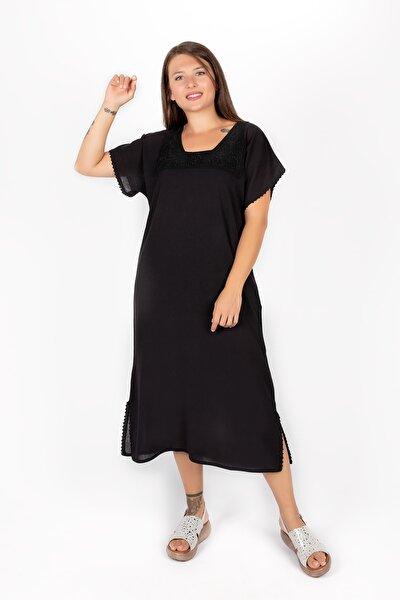 Kadın Siyah Kısa Kollu Dantel Detaylı  Şilebezi Elbise