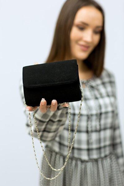 Kadın Siyah  Minik Nubuk Portföy Çanta