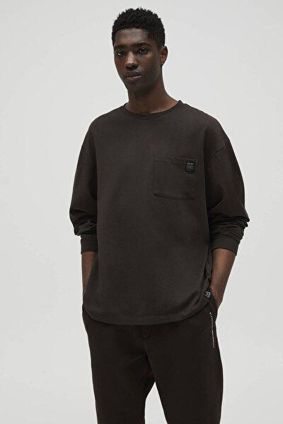 Erkek Kahverengi Cepli Oversize Uzun Kollu T-shirt