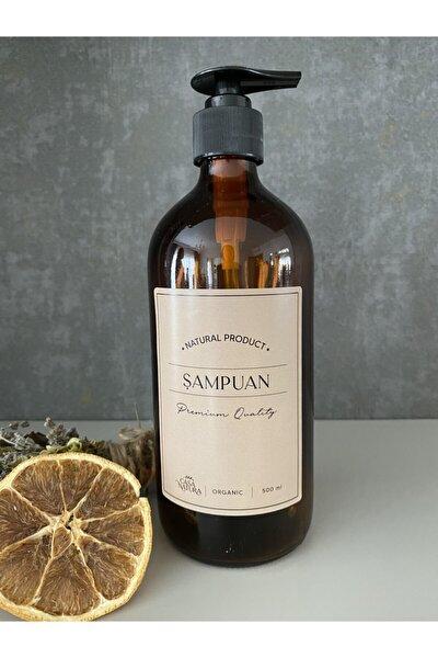 Amber Cam Şişe 500ml Kraft Etiket Şampuan