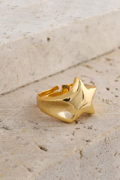 Kadın Altın Renk Yıldız Ayarlamalı Şövalye Yüzük
