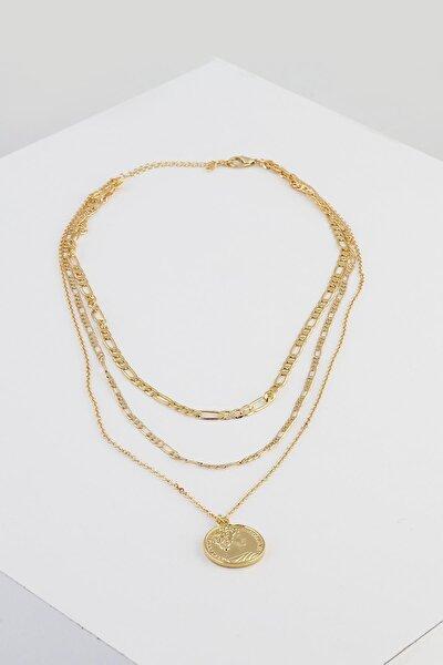 Kadın Altın 3 Sıralı Madalyon Uçlu Kolye Seti