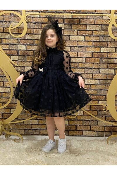 Kız Çocuk Siyah Puantiyeli Tüllü Elbise