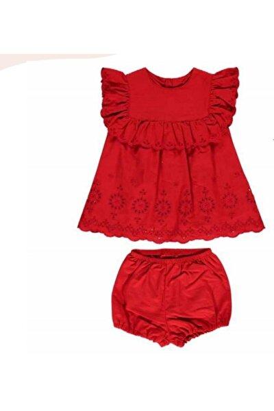 Kız Bebek Kırmızı Dokuma Elbise 2'li Takım