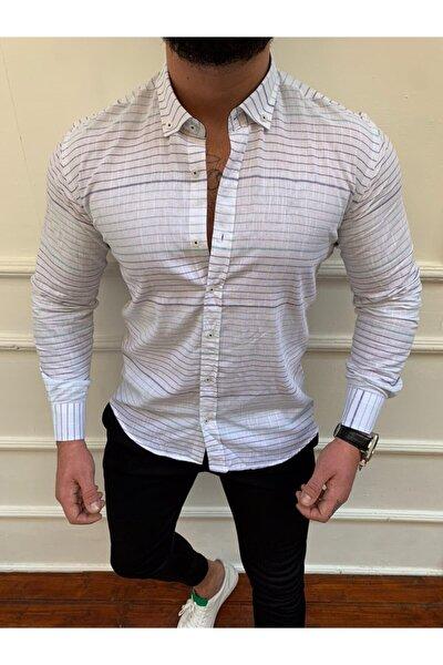 Erkek Beyaz Yazlık Çizgili Keten Gömlek