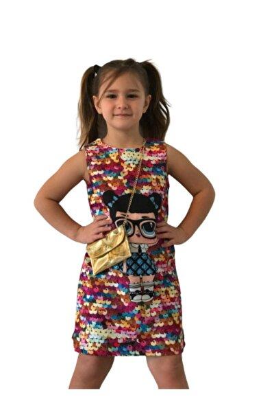 Kız Çocuk Lol Bebek Baskılı Payet Görünümlü Mini Elbise - Tunik Dore Zincirli Çanta Dahil 2'li Set
