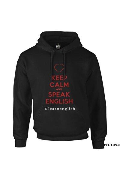 Keep Calm And Speak English Siyah Erkek Fermuarsız Kapüşonlu Sweatshirt