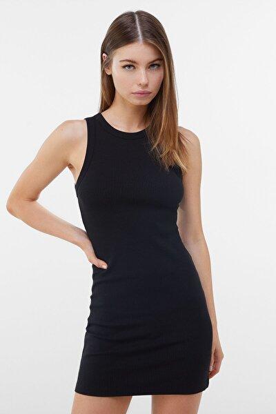 Kadın Siyah Fitilli Mini Elbise