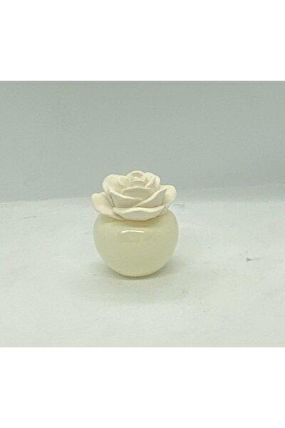 75 Cc Seramik Gül Taşlı Ekru Şişe Beyaz Sabun Banyo Kokusu