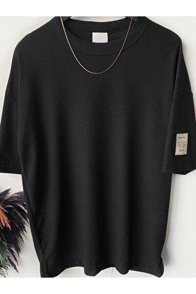 Erkek Siyah Oversize Waffle Kumaş T-shirt