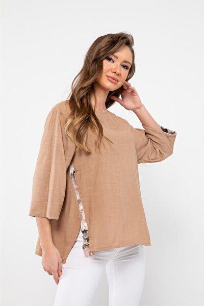 Kadın  Camel Kolları Ve Bedeni Garnili Bluz  23470