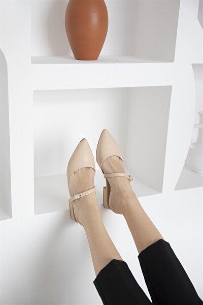 Vera Kadın Ten Topuklu Deri Sandalet