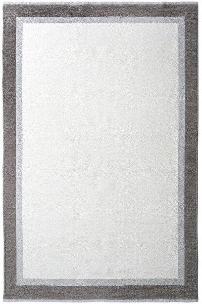 Moretti Turin Gri Beyaz Yıkanabilir Çift Taraflı Dokuma Çerçeve Desenli Halı