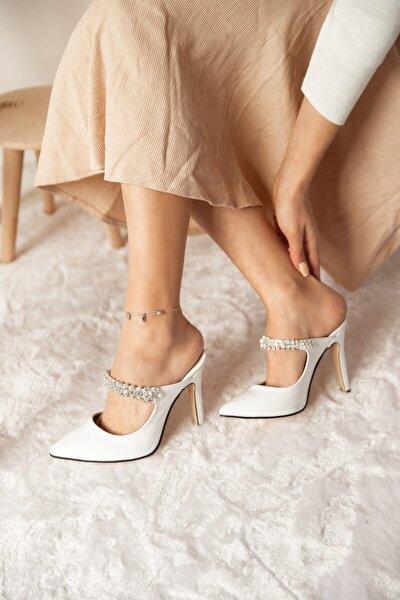 Kadın  Taşlı Beyaz Rugan Kadın Topuklu Ayakkabı