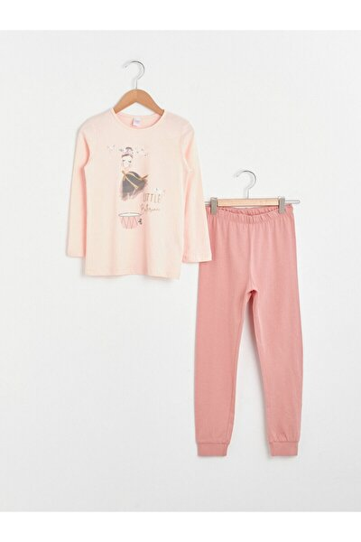 Kız Çocuk Pembe Baskılı Pijama Takımı
