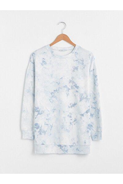 Kadın Beyaz Mavi Sweatshirt