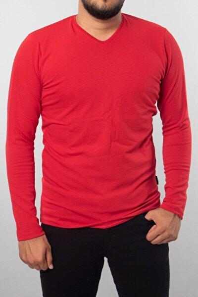 Erkek  V Yaka Pamuklu T-shirt