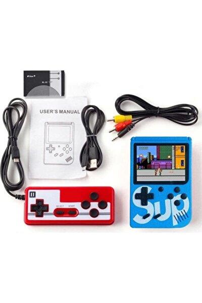 "Sup Taşınabilir Video Oyun Konsolu 3"" 400 Oyunlu Mini Atari Gameboy 2 Oyunculu Mavi"