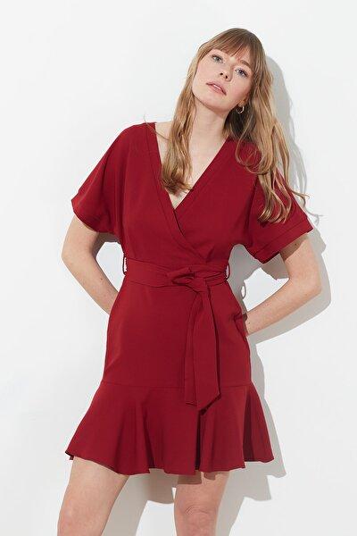 Bordo Kuşaklı Elbise TWOSS20EL0944