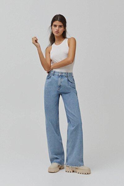 Kadın Mavi Pensli Yüksek Bel Straight Fit Jean