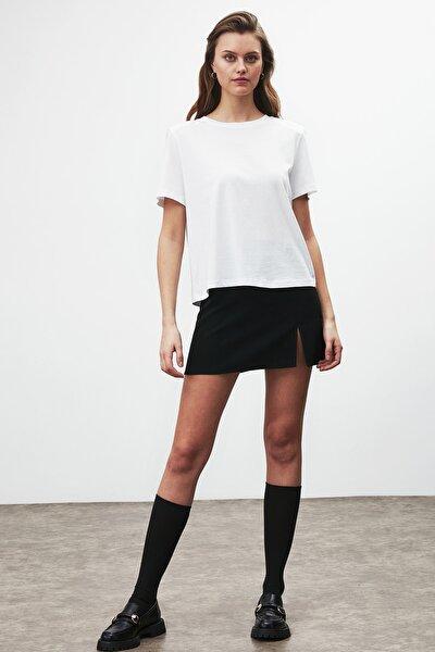 STELLA Kadın Beyaz Omuzları Vatkalı Kısa Kollu T-Shirt
