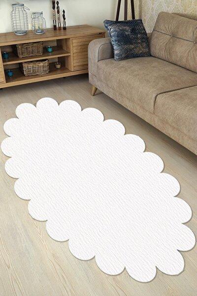Dekoratif Beyaz Peluş Elips Papatya Desen Halı