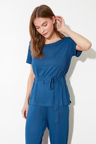 Mavi Bağlama Detaylı Örme Pijama Takımı THMSS20PT0025
