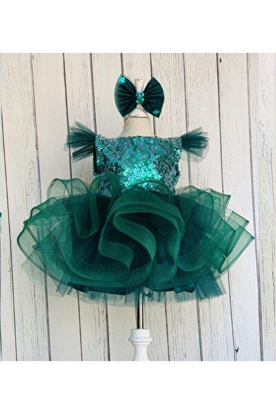 Zümrüt Yeşili 5 Katlı Kabarık Elbise