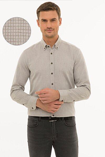 Erkek Açık Kahverengi Slim Fit Gömlek G021GL004.000.1214482