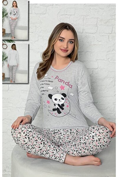 Panda Yazlı Uzun Kol Pijama Takım