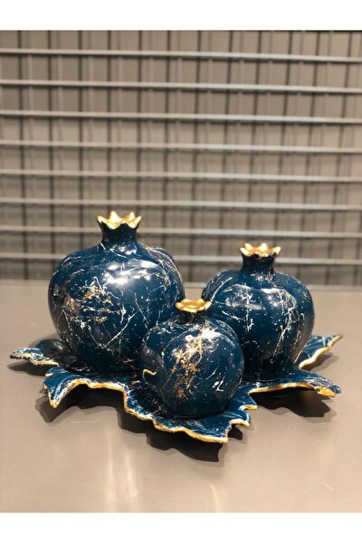Dekoratif Mavi Renkli Yaprak Altlıklı 3lü Nar