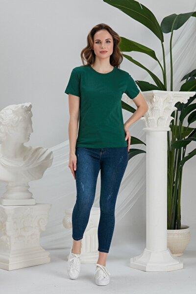 Kadın Koyu Yeşil Basic Örme T-shirt