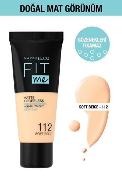 Fit Me Matte+Poreless Fondöten - 112 Soft Beige