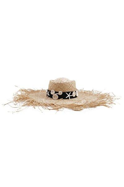 Kadın Bej El Yapımı Siyah Kemerli Üzeri İşlemeli Saçaklı Devasa Laguna Şapka