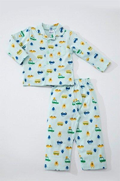 Baby Erkek Çocuk Mavi Pamuklu Arabalı Uzun Pijama Takımı LG-5204