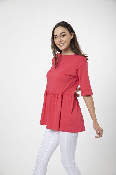 Kadın Fuşya Volanlı Geniş Kesim Basic Örme T-shirt