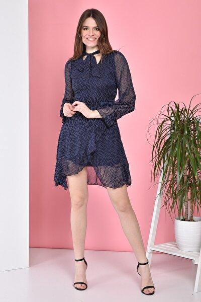 Boyun Bağlamalı Eteği Fırfırlı Kısa Astarlı Şifon Elbise